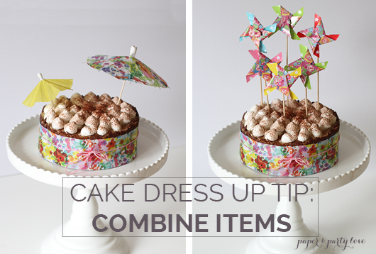 Dress up your store bought cake by combining items