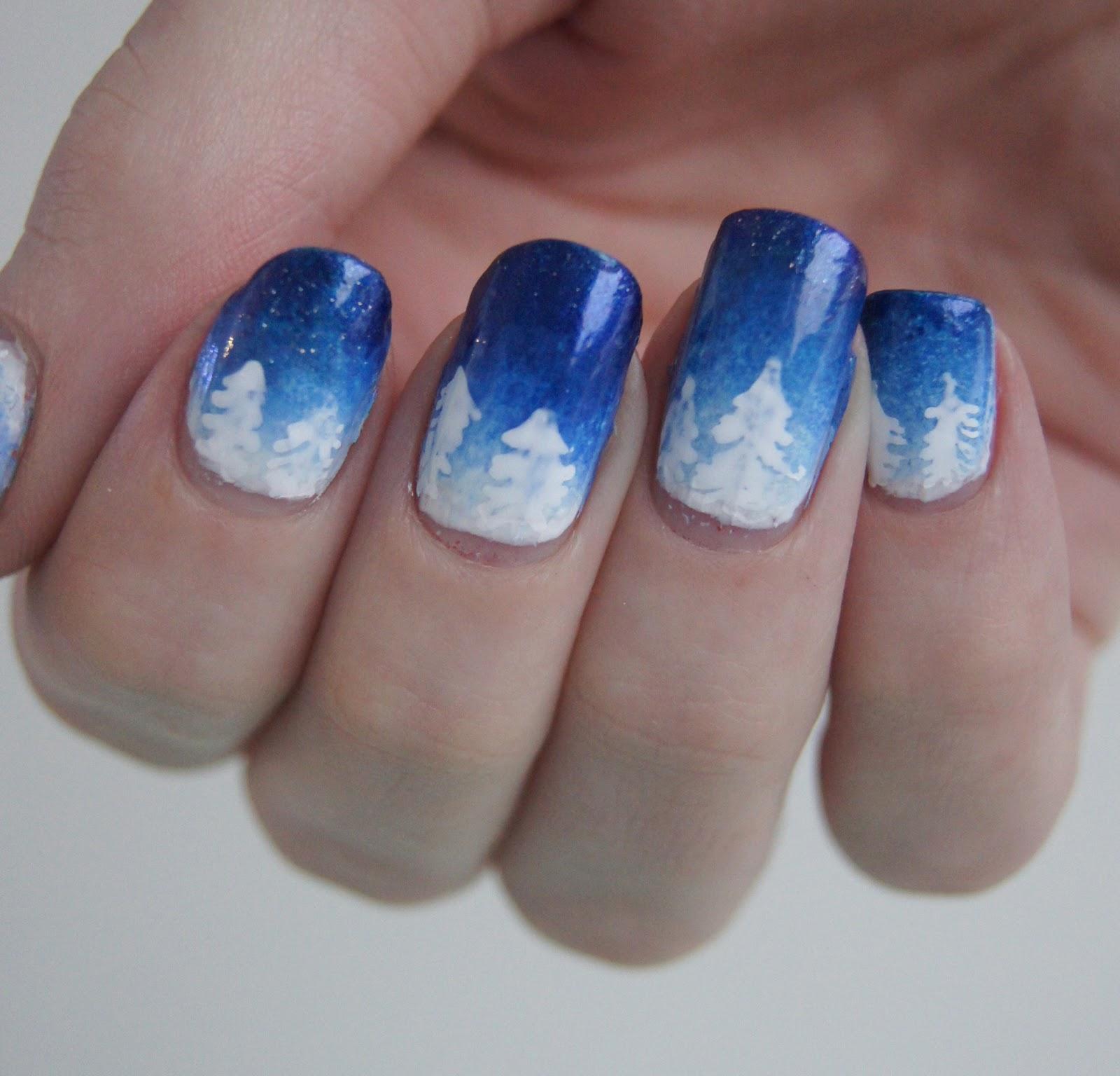 nail art noël sapin neige