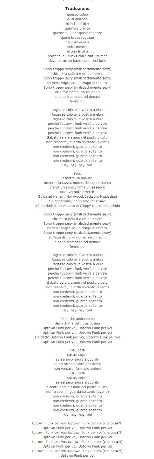traduzione testo Uptown Funk Mark Ronson ft. Bruno Mars lyrics