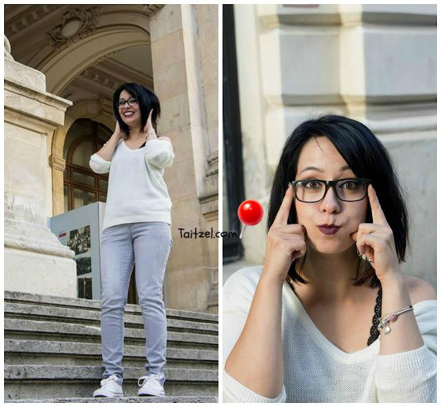 Tinuta de astazi : pulovar alb, jeans si tenisi  fashion