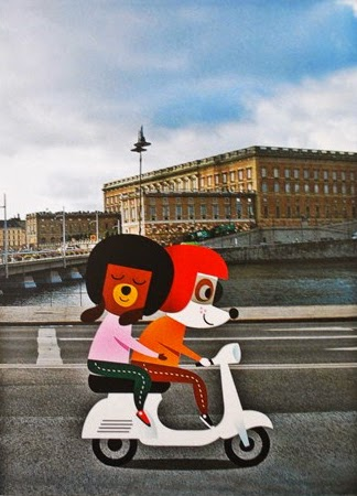 happy dog couple on a vespa illustration by Ingela Peterson Arrhenius
