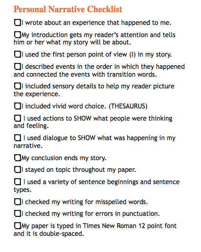 narrative essay revision checklist 1 self-editing checklist for college writers self-editing checklist for college writers researching, brainstorming, and drafting are critical for writing an effective paper however, the difference between an acceptable paper and a great paper is proof-reading and editing by cultivating proper editing techniques, students can.