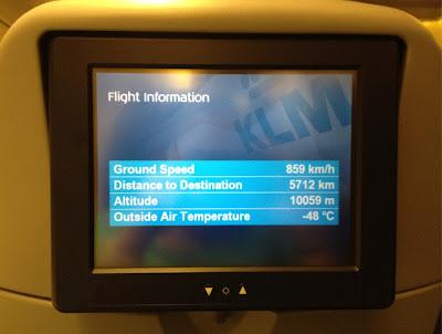 Pantalla con información sobre el vuelo