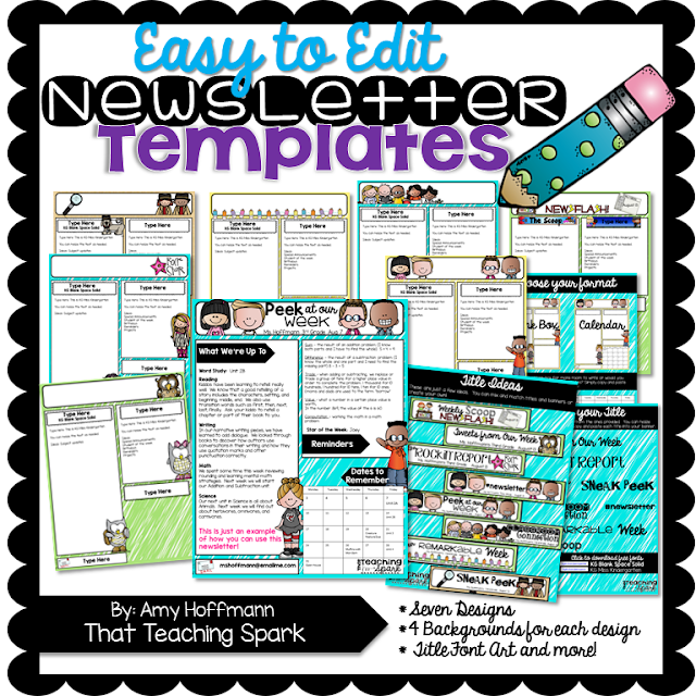 Editable newsletter pack and winners that teaching spark for Free editable newsletter templates for teachers