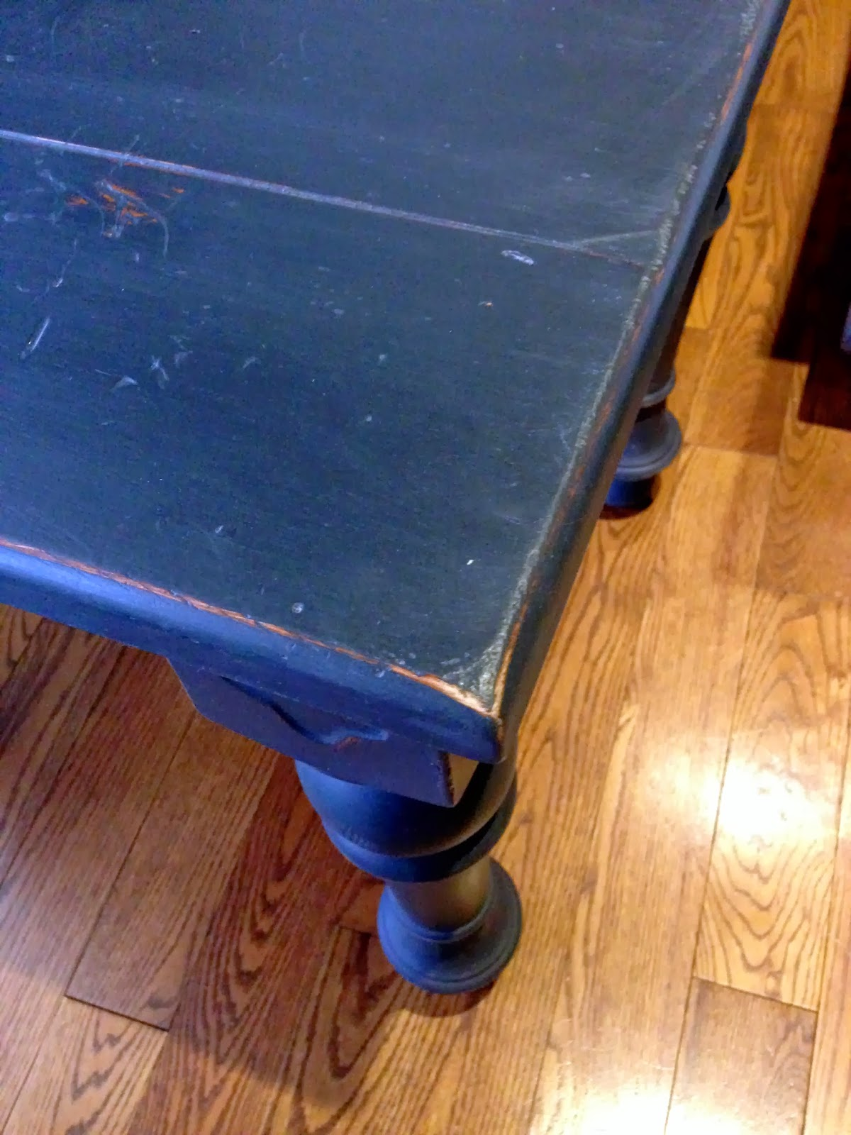 Side Table Painted Blue With Chalk Finish Paint