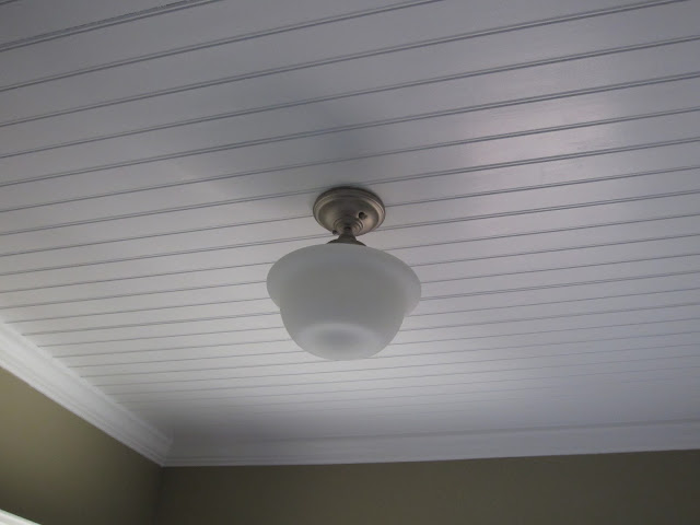 Beadboard Ceiling with Schoolhouse Light - Calypso in the Country Blog