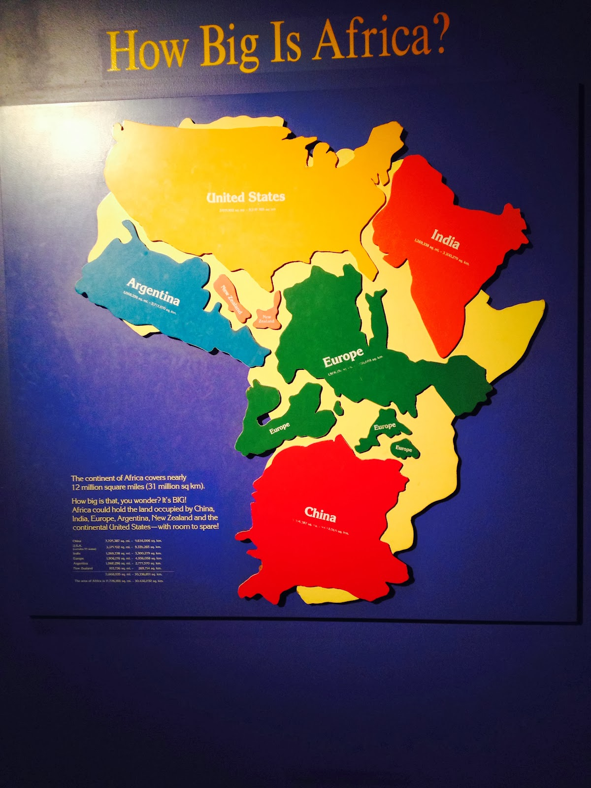 How big is Africa?  12 million square miles