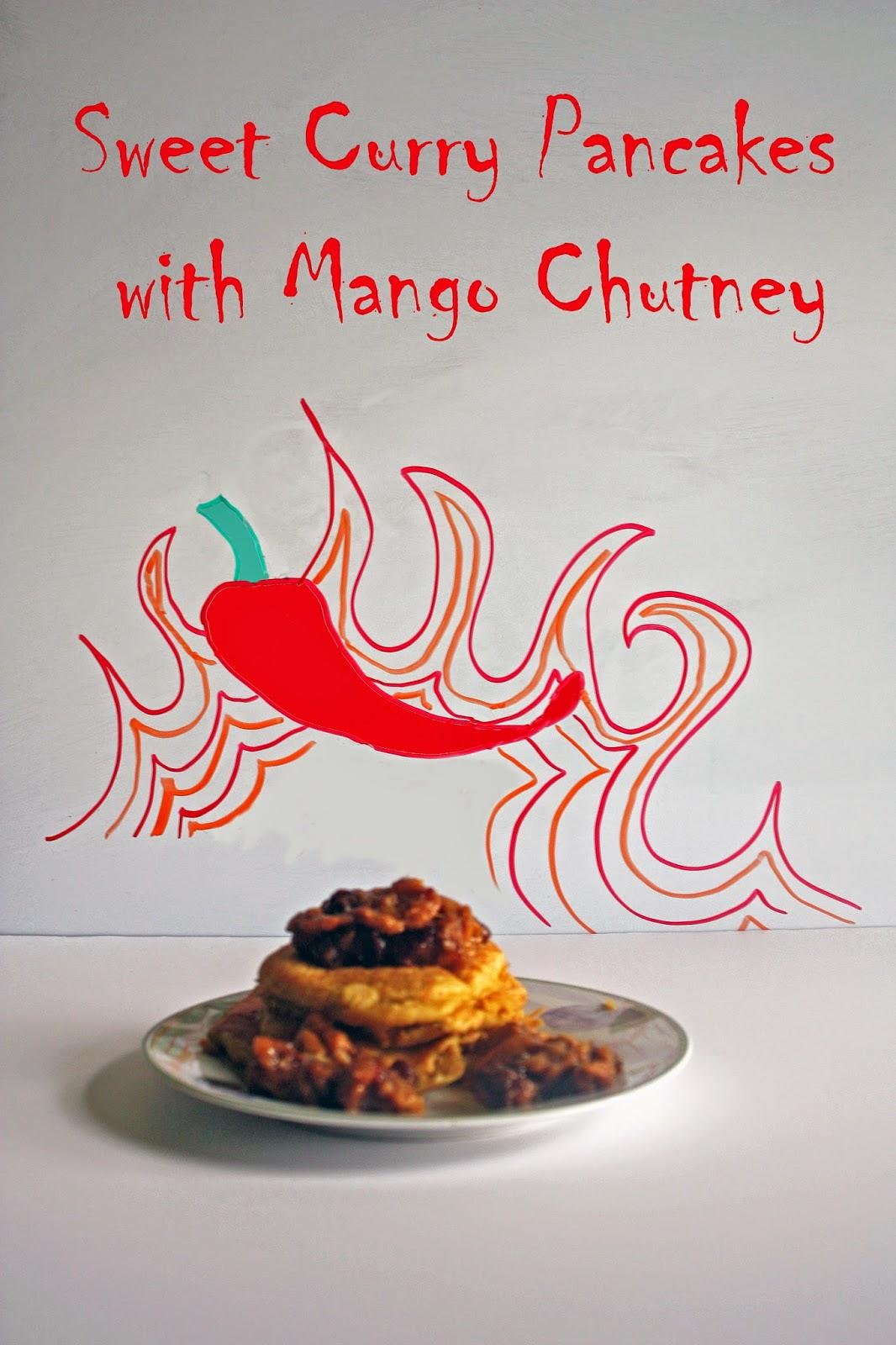 sweet curry pancakes with mango chutney