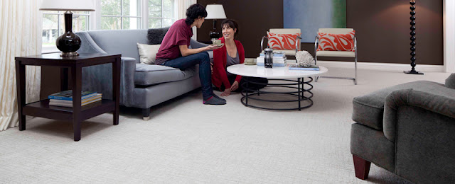 Family room with carpet flooring