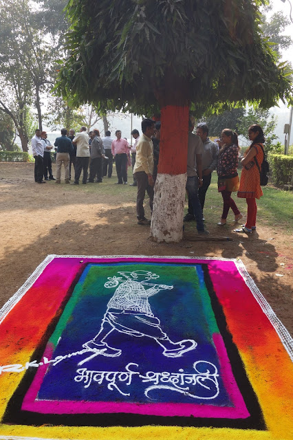 Rangoli tribute to R. K. Laxman, photo by Milind Sathe
