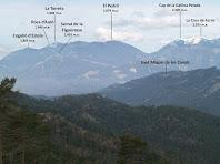 Els Rasos de Peguera, la Serra d'Ensija i la Serra de Picancel amb Sant Miquel de les Canals en un extrem