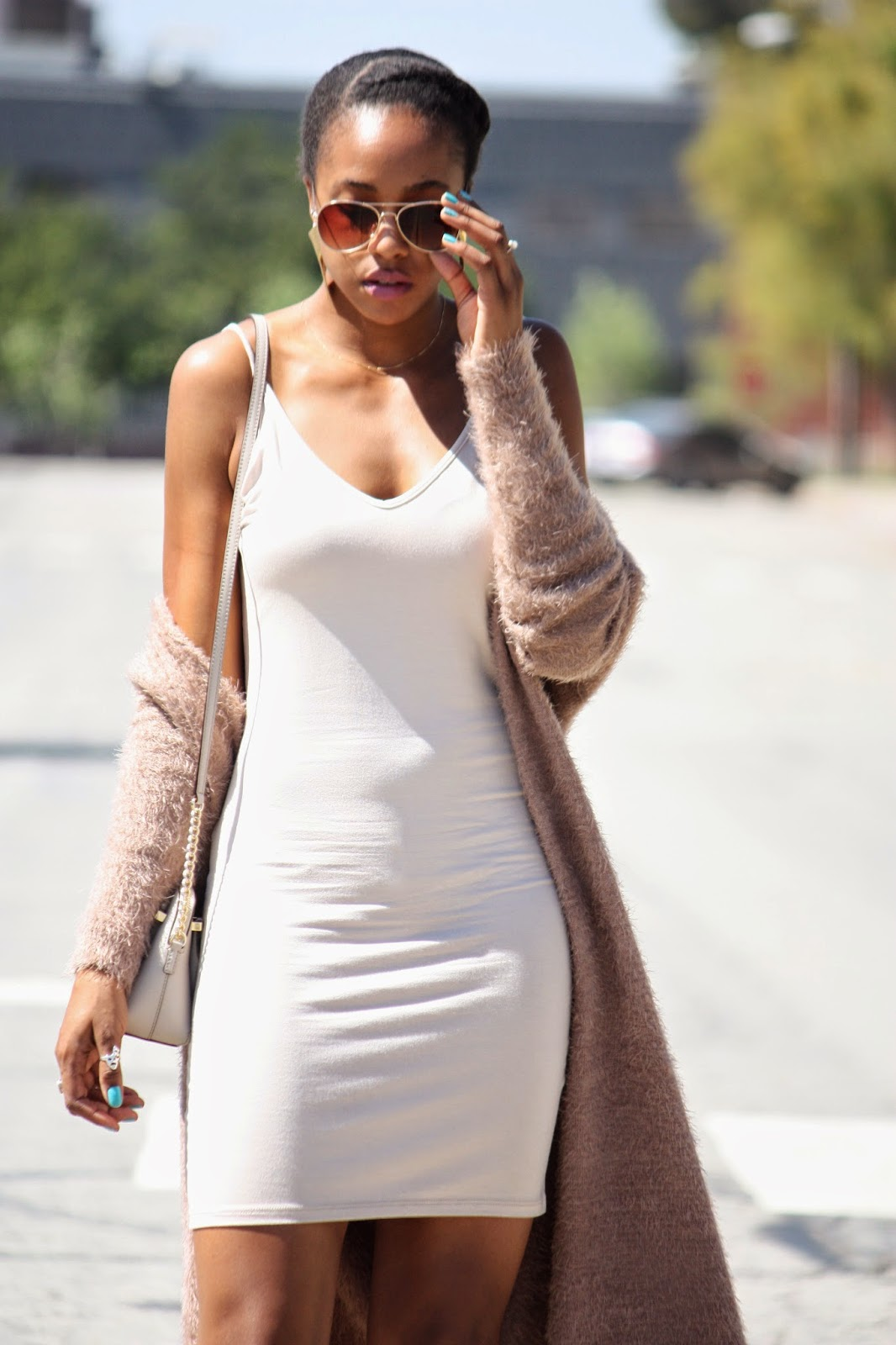 Twisted Nude outfit details Foreign Exchange dress and fuzzy cardigan  Kate Spade purse H&M aviator sunglasses