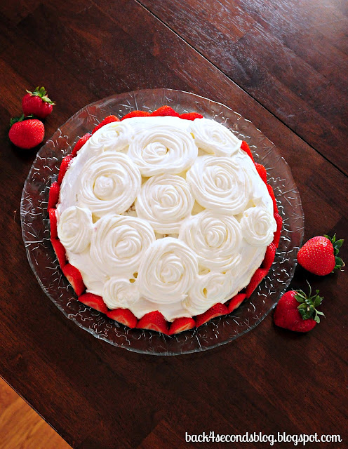 Pink Zebra Tres Leches Cake #rosettes #zebra #animalprint #cake #strawberries