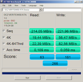 OCZ Vertex 450 AS SSD Benchmark results