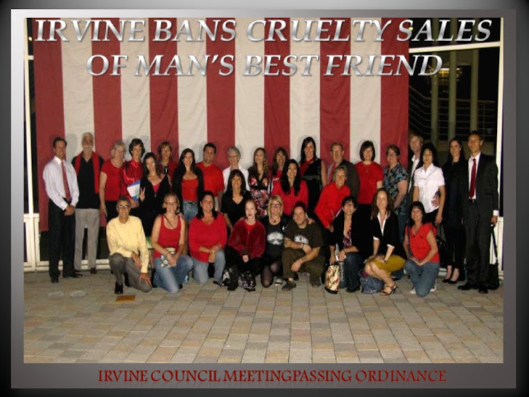 IRVINE DISPLAYS HUMANE LEADERSHIP ~~  IRVINE BANS THE CRUELTY SALES OF MAN'S BEST FRIEND