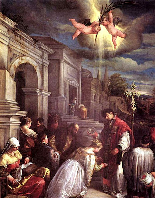 Saint Valentine baptizing St. Lucilla