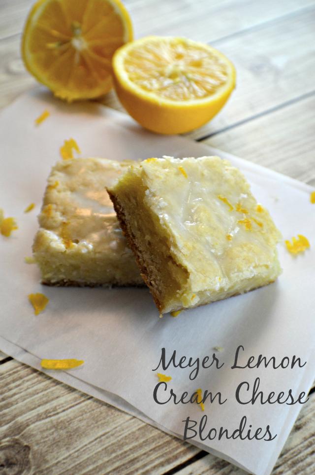 Meyer Lemon Cream Cheese Blondies, shared by My Sweet Sanity
