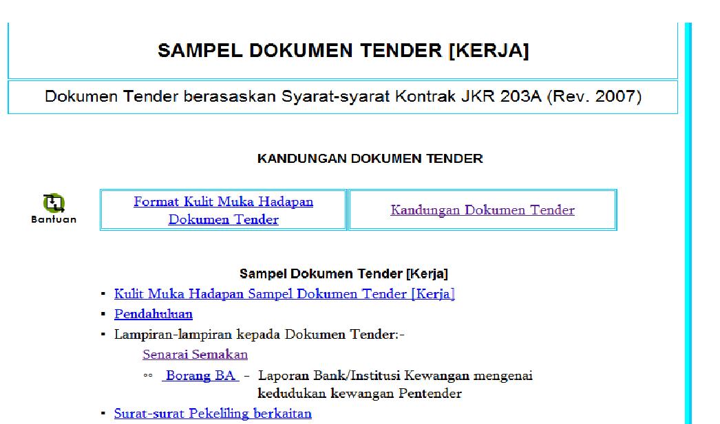 untuk mendapatkan sampel dokumen tender sila klik sini atau klik sini