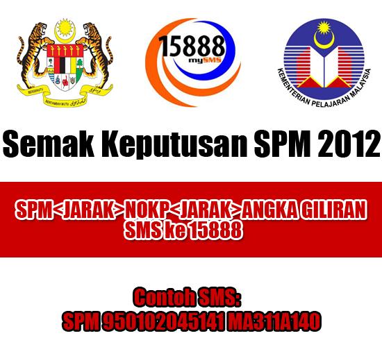 Semak Keputusan SPM 2012 Melalui SMS dan Online