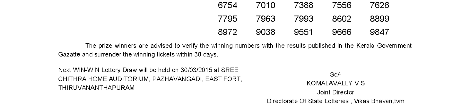 WIN-WIN Lottery W 300 Result 23-3-2015