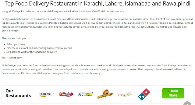 order food online from home in pakistan at eatoye