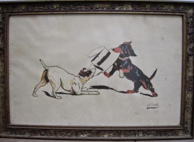 Perros jugando, dibujo de Manuel Tobella