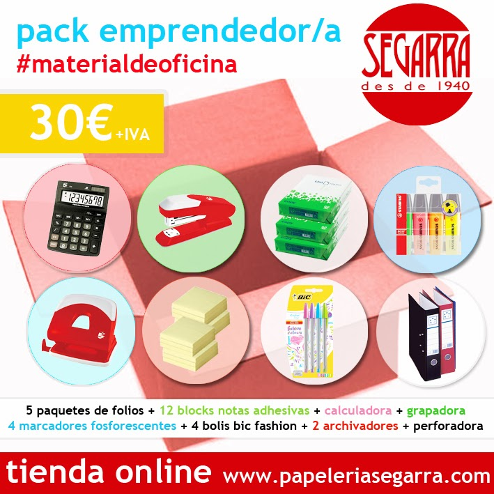 Pack emprendedor material de oficina 30 euros for Material oficina barcelona