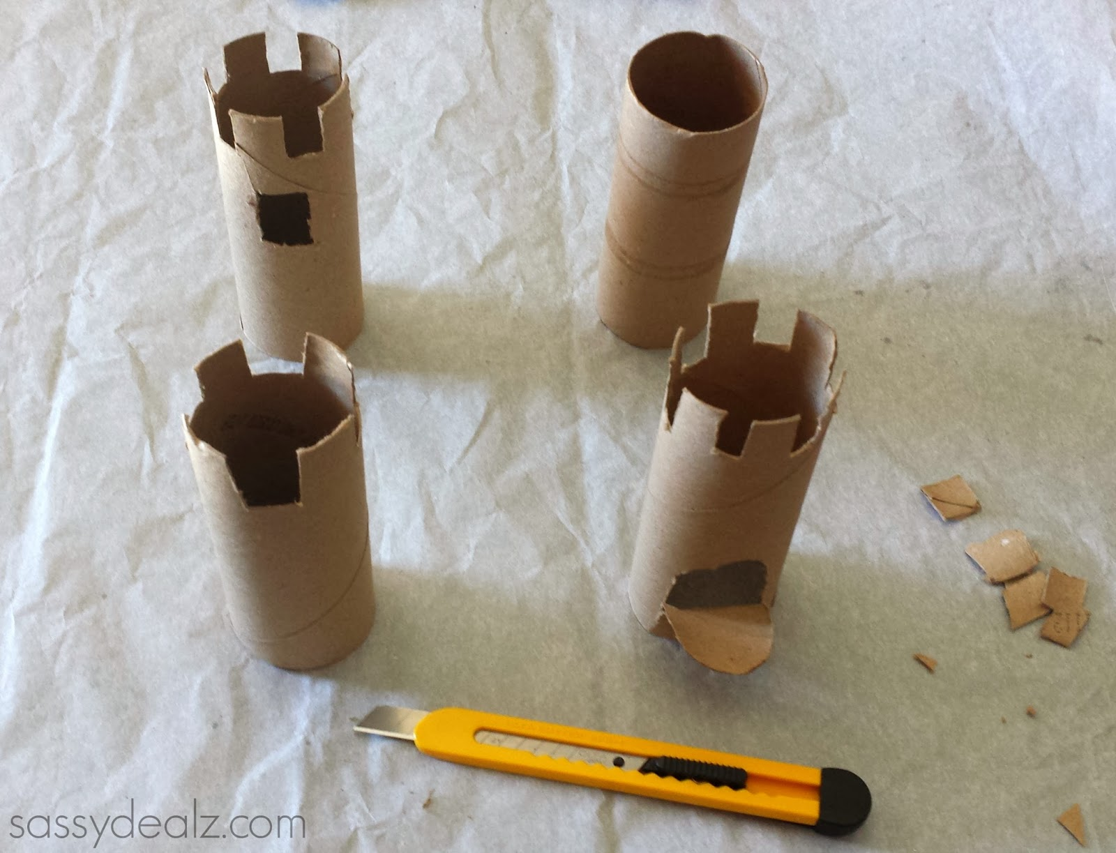 Toilet paper roll castles craft idea for kids crafty morning cut toilet paper roll castles jeuxipadfo Choice Image