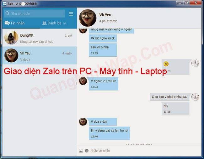 Chat Zalo may tinh Laptop khong can gia lap Android