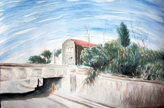 industrial landscape. cityscape, train tracks, viaduct, urban