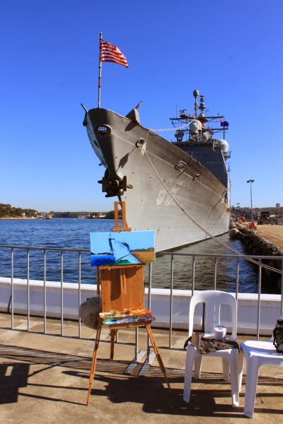 Marine art - plein air oil painting of USS Chosin at Barangaroo wharf during International Fleet Review by artist Jane Bennett