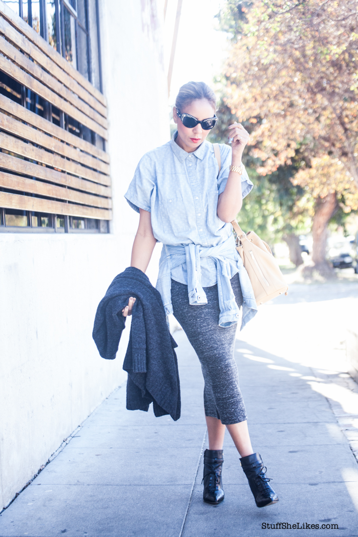 versace sunglasses, pencil skirt, denim shirt, Los Angeles blogger, top 10 bloggers in Los Angeles, Bucket bag, Grey skirt, taye hansberry, fashion blogger, michael kors watch