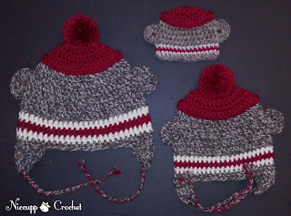 {NiccuppCrochet} Sock Monkey Hats - Pattern Available for Preemie Size