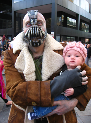 Zombie Bane from Batman and his baby brain snack