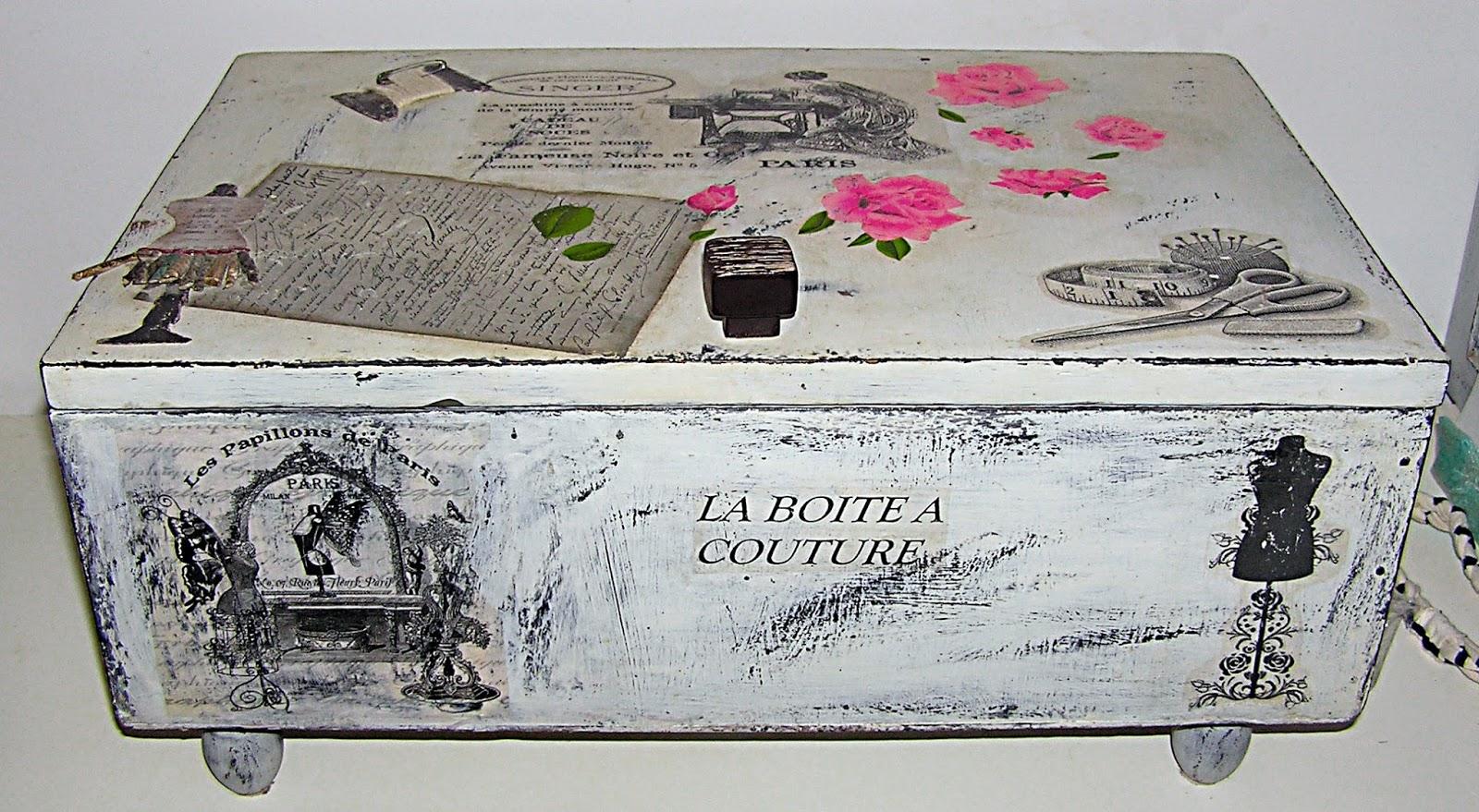 Planeta virtual costurero vintage diy caja de madera - Como decorar una caja de metal ...