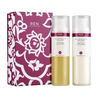 Ren, Ren Skincare, Ren Rose Duo Gift Set, Ren Moroccan Rose Otto Body Wash, Ren Damask Rose Ramnose Biosaccharide Body Cream, lotion, moisturizer, body lotion, shower gel, body wash, gift set, holiday gifts, holiday gift guide