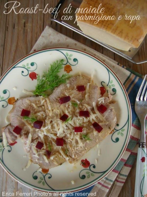 Roast-beef di maiale con scaglie di parmigiano e rapa rossa