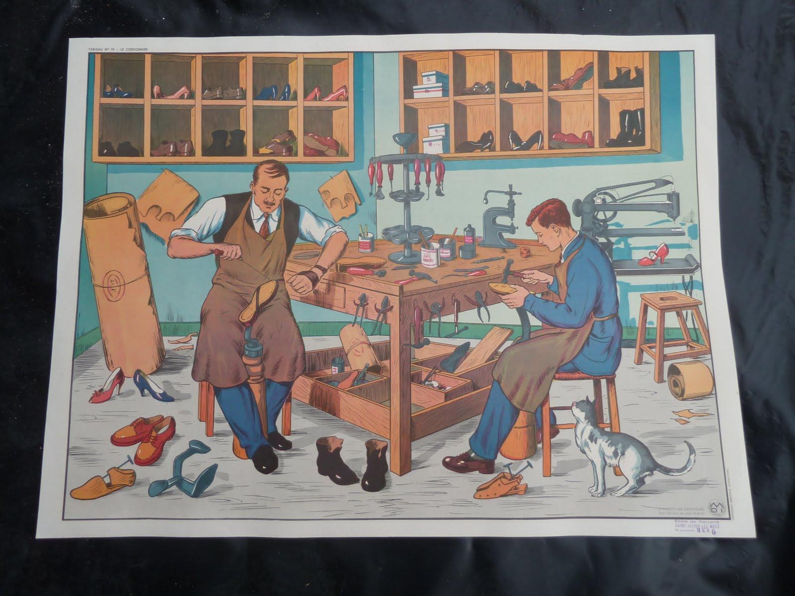 ecole fmr 1000 affiches scolaires ancienne affiche scolaire mdi cordonnier salon de coiffure. Black Bedroom Furniture Sets. Home Design Ideas
