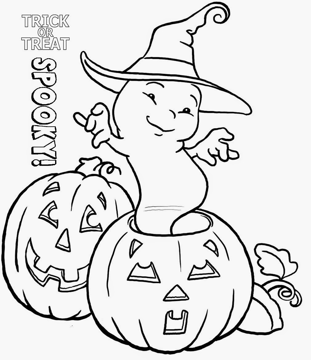 Pumpkin And Ghost Halloween Coloring Pages