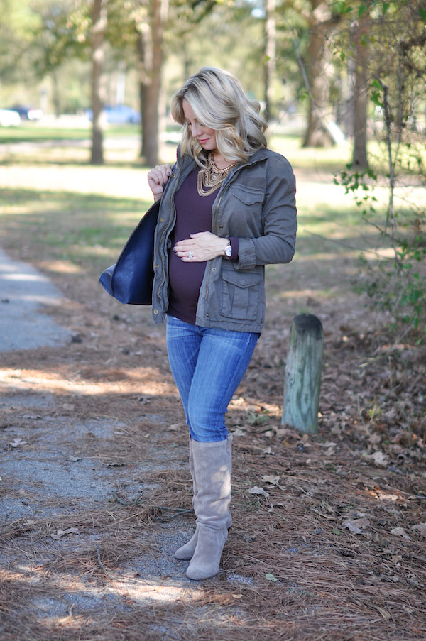 Pregnancy update 24 weeks.  Maternity fashion jacket, top boots and jeans.