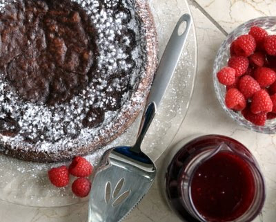 Raspberry-Red Wine Coulis (Reduction Sauce), here shown with almost-flourless chocolate cake.