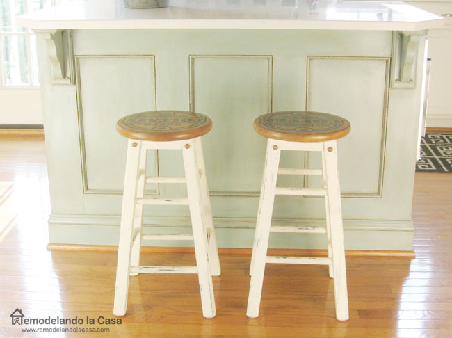 Fabulous duck egg blue kitchen island and coffee graphics painted set of bar stools