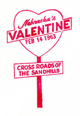 Valentine Nebraska cachet 1963 Heart of the Sandhills