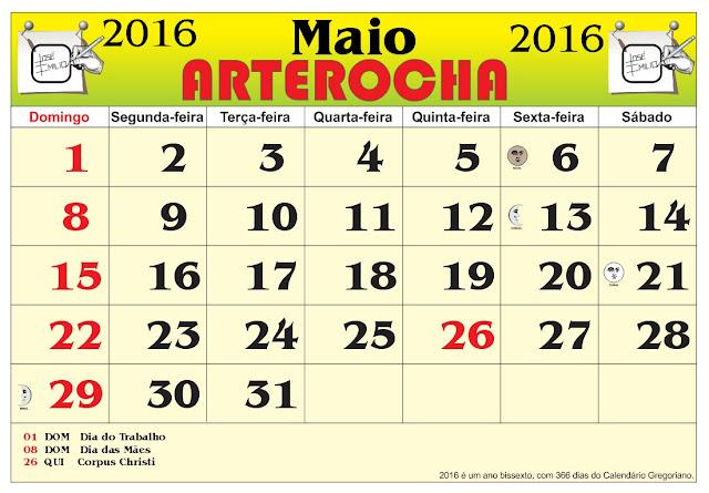 Calendario Com Fases Da Lua Maio De 2016 | New Style for 2016-2017