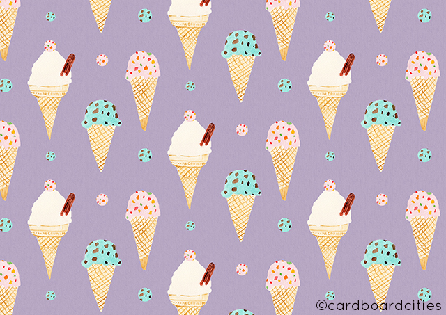 watercolour pattern by laura redburn with mr whippy 99 mint choc chip and strawberry tutti frutti