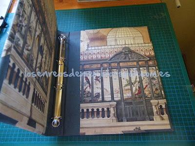 Interior de álbum de fotos mejorado con la técnica del cartonaje