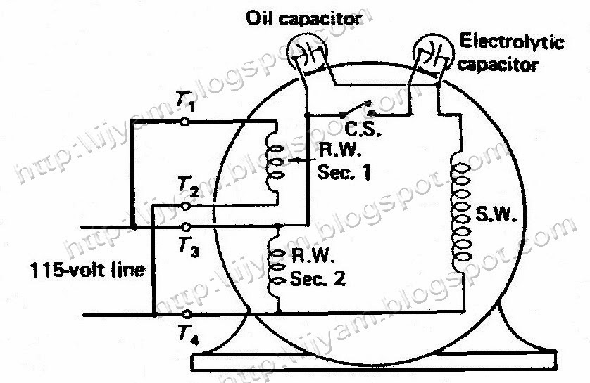 Electrical control circuit schematic diagram of two value capacitor figure 6 a two voltage two value capacitor run motor connected for 115 volt operation asfbconference2016 Images