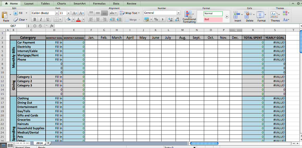 Laura's Plans: Excel Budget Template