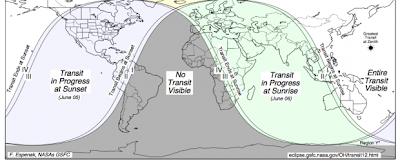Mapa de visibilidad del transito de Venus 2012