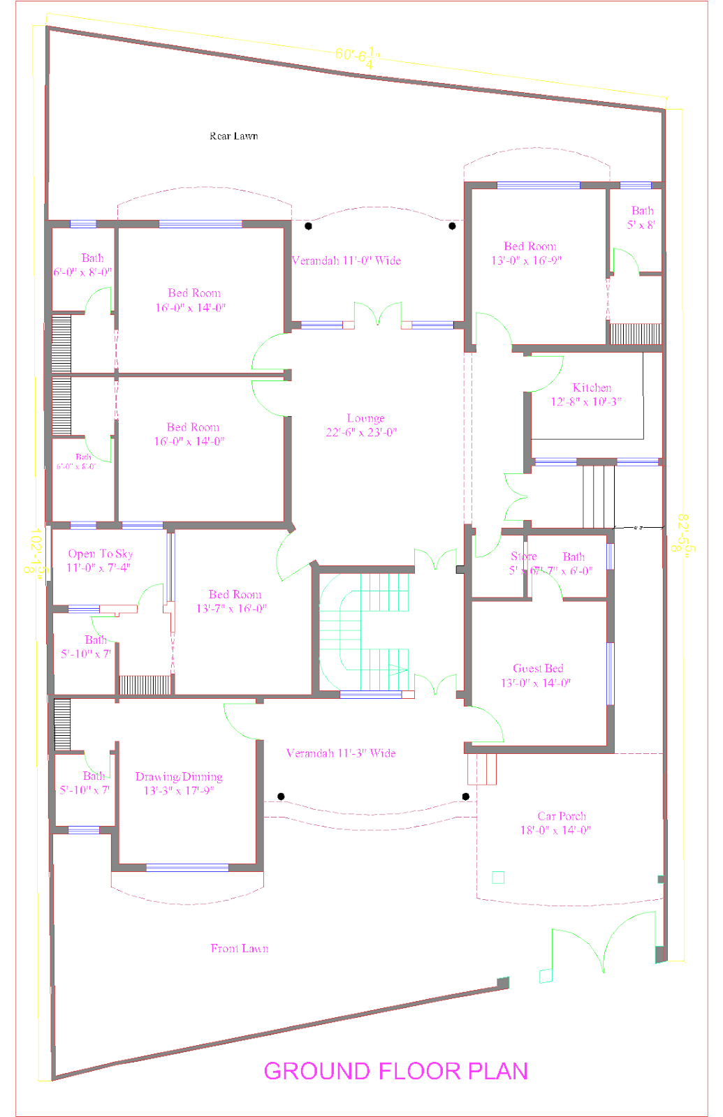 3d front 1 kanal house plan of peshawar